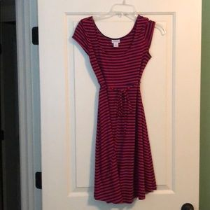 Navy and red striped casual maternity dress